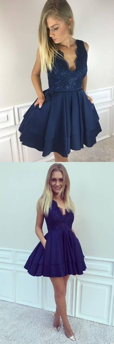 v neck homecoming dresses, homecoming dress with pocket, royal blue homecoming dresses, short homecoming dresses