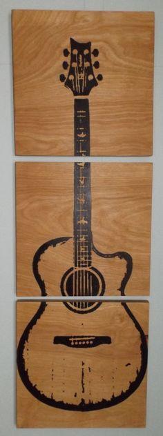 custom acoustic guitar wood wall art by cedarworkshop on etsy 69 00 - Wood Design