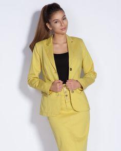 Дамско сако вталено - жълто - Crown #Efrea #Ефреа #online #онлайн #пазаруване #дрехи