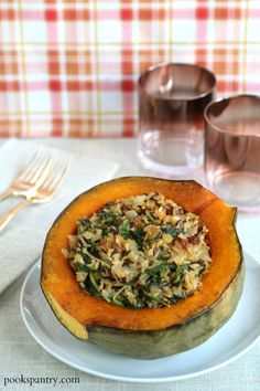 Stuffed Hubbard Squash Recipe with Golden Raisins and Baby Kale