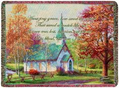 Manual Amazing Grace Tapestry Throw with Quote Chapel in The Woods by Thomas Kinkade 60 X 50Inch * Check this awesome product by going to the link at the image.