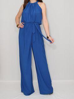 Women Cobalt Blue jumpsuit with belt Unique Jump suit Rooftop Party, Blue Jumpsuits, Eclectic Style, Spring Summer 2018, Cobalt Blue, Favorite Color, Blue Dresses, Amber, Cute Outfits