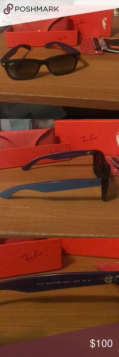 "Ray-Ban New Wayfarer Mens' ""New Wayfarer"" Ray-Bans.  Black Front with black gradient lenses and blues handles.  Comes with box, case, Manuel, and cleaning cloth still in the original plastic. Ray-Ban Accessories Sunglasses"
