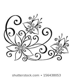 Illustration of Beautiful Decorative Flower with Leaves Vector , Patterned design vector art, clipart and stock vectors. Image Vector - Beautiful Decorative Flower with Leaves Vector , Patterned design Flower Pattern Design, Flower Patterns, Flower Designs, Flower Design Drawing, Stencil Patterns, Embroidery Patterns, Pencil Drawing Inspiration, Leaves Vector, Beautiful Drawings