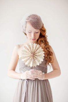 Wedding Veil, Birdcage Veil, Polka dots, Short Veil - Polka Dot Blusher Veil. $57.50, via Etsy.