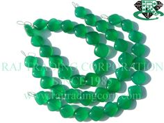 Green Onyx Smooth Cushion (Quality AAA) Shape: Cushion Smooth Length: 18 cm Weight Approx: 18 to 20 Grms. Size Approx: 11.5 to 13.5 mm Price $17.70 Each Strand