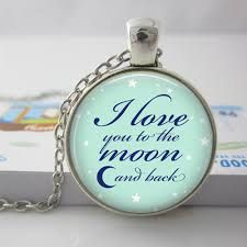I love You to the Moon & Back Glass Dome Pendant Necklace Antique Bronze