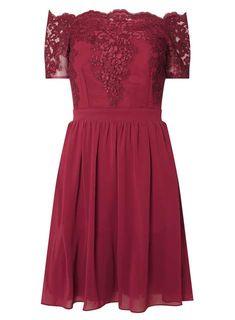 **Showcase Red 'Erin' Bardot dress