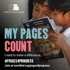 My pages count! I read to make a difference. Education For All, Make A Difference, Make A Change, Different, Count, Learning, Day, Paradise, How To Make