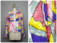 STUNNING Iridescent Pastel Sequined Jacket / Light Pink Purple Mint Green Yellow Art Deco Blazer / Silk Beaded Sequin Trophy Jacket by braxae on Etsy