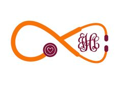 Stethoscope Infinity Monogram Vinyl Decal by RebeccaLaneGraphics, $6.00