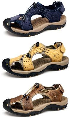 multiple colors c7374 d1bf9 Large Size Men Stitching Genuine Leather Anti-collision Toe Lace Up Outdoor  Beach Sandals is comfortable to wear, cheap men sandals are on sale-NewChic.