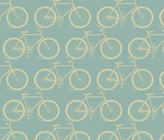 Vintage Bicycle Pattern in Retro Colors fabric by cloudy_cape_vintage on Spoonflower - custom fabric