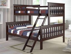 Donco Kids Cappuccino Twin Full Mission Bunk Bed With Drawers Twin Full Bunk Bed, Bunk Bed With Trundle, Kids Bunk Beds, Full Bed, Futon Bunk Bed, Loft Beds, Bunk Beds With Drawers, Bunk Beds With Storage, Bed Storage