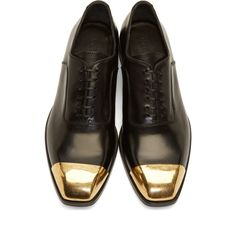 Alexander McQueen Black Leather Toe Cap Oxfords