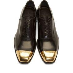 Alexander McQueen Black Leather Toe Cap Oxfords