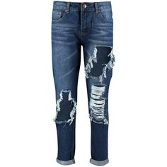 Boohoo Lizzy Low Rise Ripped Boyfriend Jeans ($26) ❤ liked on Polyvore featuring jeans, low-rise boyfriend jeans, ripped boyfriend jeans, destruction jeans, torn jeans and low rise jeans