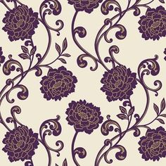 Alanis  (99087) - Holden Decor Wallpapers - A beautiful shadow drawn flock design with gold lines and rich purple flock rose trail on a cream lustre background. Please request sample for true colour match. Paste the wall.  Pattern repeat 64cm
