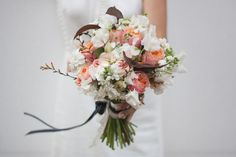 Wedding bouquet peach rose and marsala lives!