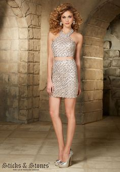 9358 Homecoming / Party/ Cocktail / Dresses Two-Piece Geometric Beading on Net