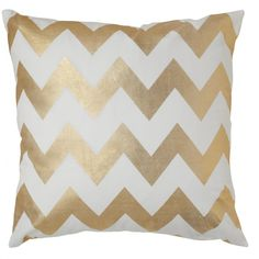 Caitlin Wilson Textiles // Gold Chevron Pillow // #want for my newly painted white room!