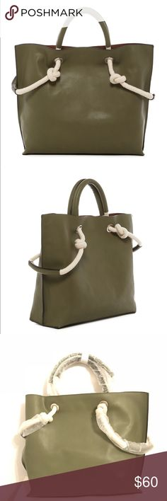 """French Connection Tote New with tags French Connection Hoyt Tote in Burnt Olive. - Dual top and side handles - Magnetic top closure - Interior features dual hanging slip wall pockets - Approx. 12.5"""" H x 16.5"""" W x 4.5"""" D - Approx. 4"""" handle drop -  Materials Manmade exterior, textile lining.   Selling for $55 on instagram @more_shoes_pls French Connection Bags Totes"""