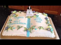 This design makes a nice Baptism , Confirmation or First Communion Cake! - YouTube