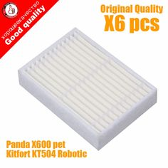 Humor 6pcs High Quality Replacement Hepa Filter For Panda X600 Pet Kitfort Kt504 For Robotic Robot Vacuum Cleaner Accessories Easy To Repair Cleaning Appliance Parts Home Appliance Parts