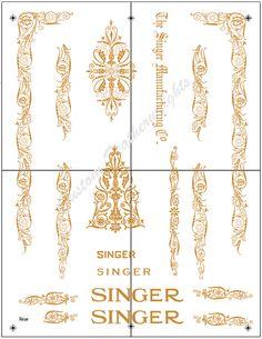 Decals for Singer 66 99 Filigree Restoration - Waterslide Transfer - Gold Metallic from: keelersales.com