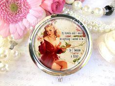Silver Compact Mirror, Cosmetic, Handbag or Purse mirror,  Bridesmaid Gift…