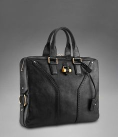 YSL Muse Briefcase in Black Classic Leather