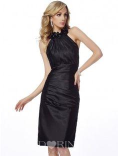 Sheath Bateau Sleeveless Applique Knee-Length Elastic Woven Satin Dress
