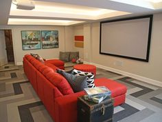The Structure sofa gives a pop of colour to the decor in this basement home theatre. Home Theater, Theatre, Dream Home 2017, Color Pop, Colour, Square Feet, Basement, Canada, Sofa