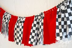 If your child is all about cars, a race car party is the perfect choice. Dress up your party with the red of a race car and the checkered flag that's waved when the winner crosses the finish li Race Car Birthday, Disney Cars Birthday, Cars Birthday Parties, 2nd Birthday, Birthday Ideas, Queen Birthday, Nascar Party, Race Car Party, Car Fabric