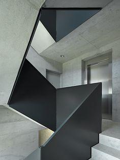 black balustrade + concrete treads = stairs   Roger Frey