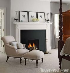 A comfortable flax-colored chair and ottoman rest in front of the chic, streamlined fireplace in this Illinois bedroom. Home Decor Bedroom, Traditional Decor, Georgian Interiors, Bedroom Fireplace, Home, Traditional House, Georgian Fireplaces, Home Decor, Georgian Style Homes