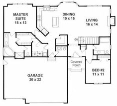 Laundry connected to master closet, walk in pan. Laundry connected to master closet, walk in pantry, large garage! 2 Bedroom House Plans, Garage House Plans, House Plans One Story, Dream House Plans, Story House, Small House Plans, House Floor Plans, Retirement House Plans, Square House Plans