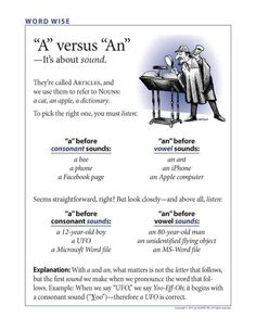 A vs An - Ok....not exactly the way I learned it, but it works.