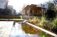 #landcape #architecture #garden #lagoon #water #feature #summer-house #waterfall