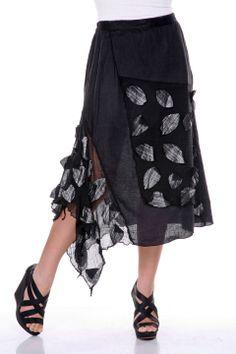 Petal Linen Skirt in black by Firmiana $168 - $37 @Beyond the Rack. 100% Linen.