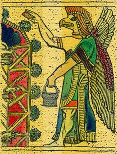 The Assyrian god Nisroch was depicted as an eagle-headed diety with wings and exaggerated muscles. In this sculptured relief from Nineveh he is sprinkling the sacred tree with water. He is holding a water vessel in his left hand and a fir cone (sponge) in his right.