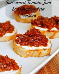 Sun-Dried Tomato Jam and Whipped Feta Crostini Recipe - RecipeChart.com