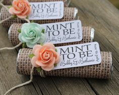 Mint and peach wedding inspiration, custom wedding favors with beautiful roses and a personalized tag. Works for a coral wedding theme also! Click here for more color options. https://www.etsy.com/shop/BabyEssentialsByMel.