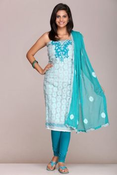 Embellished #blue #chanderi #unstitched #suit with pure #chiffon #dupatta on www.indiainmybag.com/wool-work-unstitched-suits.html