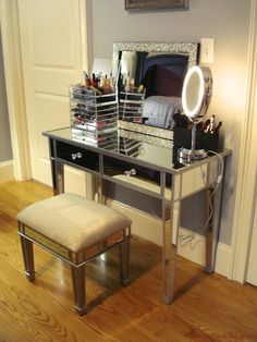 Hayworth Mirrored Vanity KnockoffFurniture  Black Makeup Table With Lighted Mirror And Small Fabric  . Small Black Makeup Vanity. Home Design Ideas