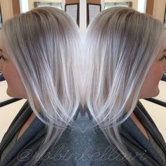 Icy blonde platinum hair. Toned first with Kenra Silver Violet. Then balayaged with lightener + olaplex. Then toned with shades EQ. Cool blonde. Silverhair violethair