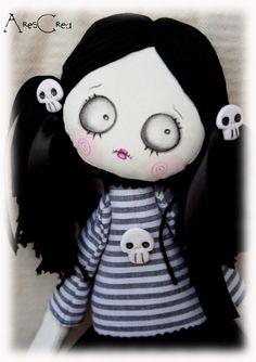 Ortica handmade spooky gothic / zombie art cloth doll by AresCrea, $52.00