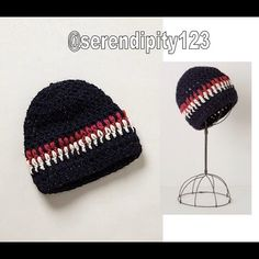 "Anthropologie Andes Striped Beanie - Navy - NWT Anthropologie Andes Striped Beanie - Retail $68 - Color: Navy - The culturally inspired, globally minded & Brooklyn-based Bluma Project began with a love of hand-crafted accessories. Made around the globe, the intricate, bold & beautiful collection is bound by the authenticity of skilled artisans & sustainable production. This chunky knit beanie is no exception - By Bluma Project - Wool, metallic fibers - Dry clean - 21.5"" crown - Handmade in…"