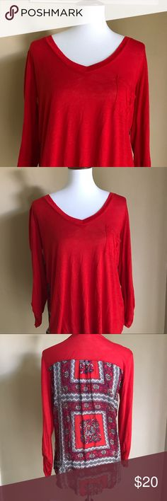 BOGO 💕 Anthropologie porridge Bright cherry red sweater / blouse by Anthropologie. Brand is porridge and super cozy. Very small pin sized hole on the very back where the security tag was. Firm price! Anthropologie Tops