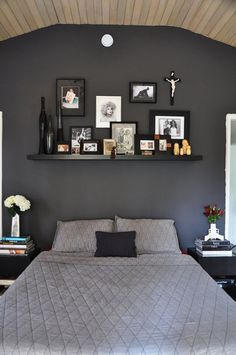 #apartmenttherapy i love gray bedrooms. The shelf is nice, too.